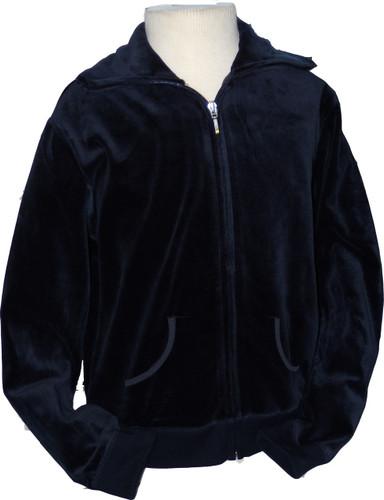 Navy Velour Zip-Up With Collar Kangaroo Pockets Juinor