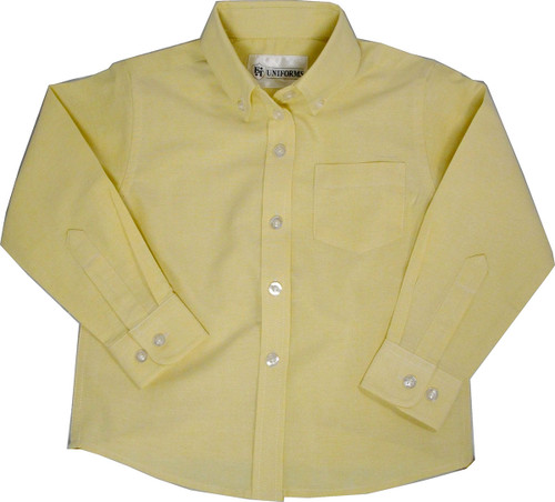 Junior Girls Blue or Yellow or White Oxford Blouse Long Sleeve