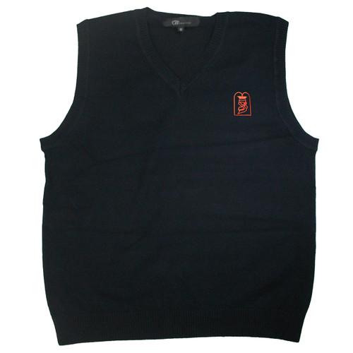 Kids Sleeveless Cotton Sweater Vest | Navy With Bnos Zion D'Bobov Elem Embroidery