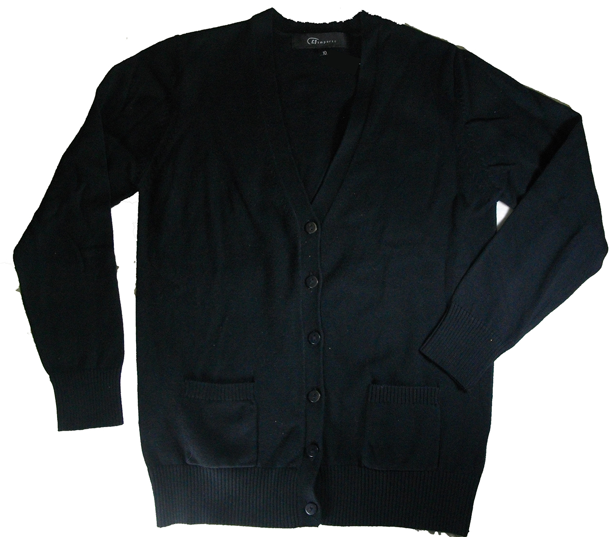 Girls Sweater V-neck Cardigan Black 100% Cotton - Engelic Uniforms