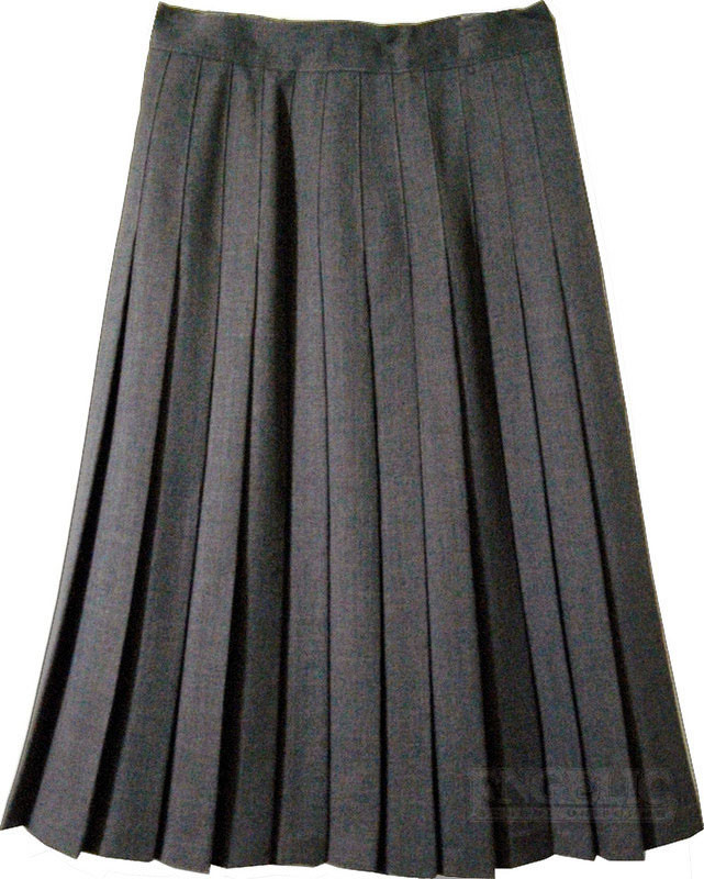 juniors school pleated skirt grey poly wool
