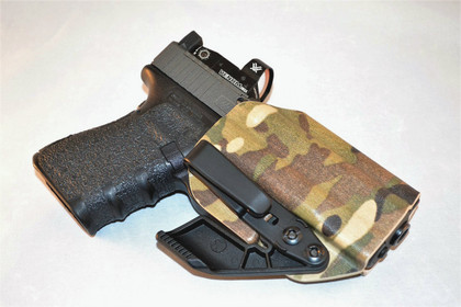 Appendix Inside The Waistband shown with Overhook, Concealment Claw, Optic cut in Supercam print (Has been replaced with Officially Licensed Crye Multicam)