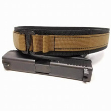 "HolsterCo Lo-Profile EDC Belt shown in Black with Coyote 1""webbing and G-Hook buckle"