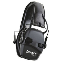 Howard Leight Impact™ Sport Earmuff Noise reduction rating of 22db Amplifies sounds up to 3 times normal hearing Weighs 10.5 oz. with batteries With a noise reduction rating of 22db and an extremely low profile, this electronic earmuff is destined to become very popular with shooters. It amplifies low-level ambient sound such as conversation while instantly reducing potentially damaging sounds. Padded stereo muffs afford greater comfort to the user. This water-resistant protection has an outstanding 350-hour battery life, an easily accessed snap-on battery compartment cover, four-hour auto shut-off, integrated power and volume knobs, an external audio plug, and they fold up for compact storage. Earmuff in Mossy Oak® is exclusive to Cabela's. Uses 2 AAA batteries (included).