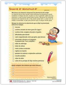 Spanish Pediatric Warning Signs Tear Sheet