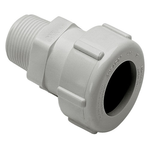 "1 1/2"" IPS PVC Compression X MPT Adapter (White)"