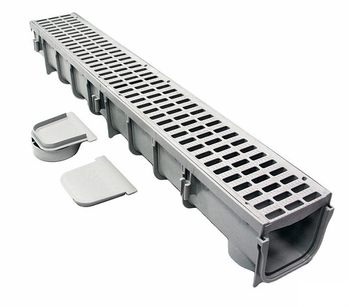 """NDS 864G Pro Series 5"""" x 1 Meter Deep Profile Channel Drain Kit"""