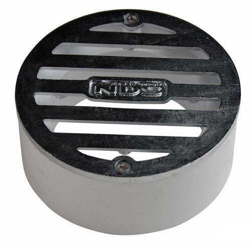 "NDS  3"" Round Satin Chrome Grate w/PVC Collar"