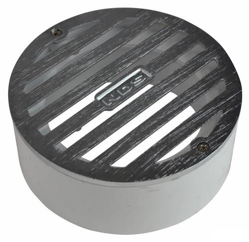 "NDS  4"" Round Satin Chrome Grate w/PVC Collar"