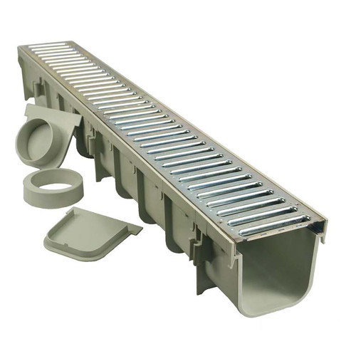 NDS 864GMTL Contractor (3 Pack) Channel Drain Kit - Galvanized Grate