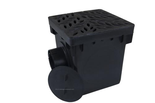 "NDS 12"" Catch Basin Kit w/ Black Decorative Botanical Grate"