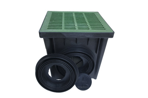 """NDS 24"""" Two Hole Catch Basin Kit w/ Green Grate"""