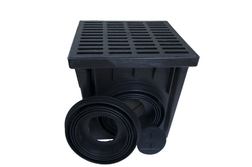 """NDS 24"""" Two Hole Catch Basin Kit w/ Cast Iron Grate"""