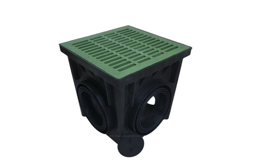 """NDS 24"""" Four Hole Catch Basin Kit w/ Green Grate"""