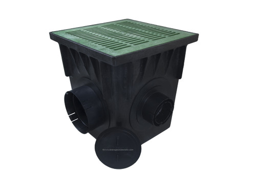 """NDS 18"""" Four Hole Catch Basin Kit w/ Green Grate"""