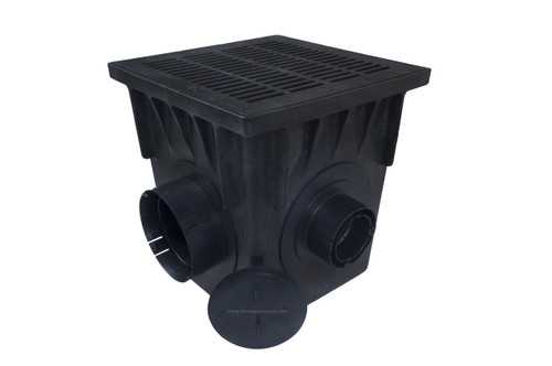 "NDS 18"" Four Hole Catch Basin Kit w/ Black Grate"