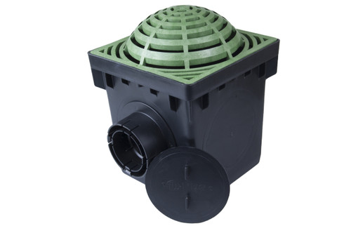 "NDS 12"" Two Hole Catch Basin Kit w/ Green Atrium Grate"