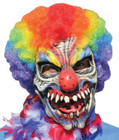 Funny Bones Killer Crazy Circus Clown Rainbow Hair Halloween Costume Mask