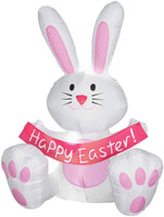 4' Airblown Inflatible Easter Bunny Rabbit Yard Decor Decoration
