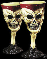 2 Gothic Skull Goblets Halloween Party Prop Decoration