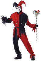 Sinister Jester Skull Mardi Gras Evil Clown Halloween Mask Costume