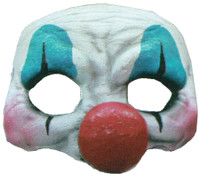 Evil Happy Clown Face Latex Halloween Costume Half Mask