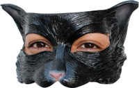 Black Kitty Cat Face Latex Halloween Costume Half Mask