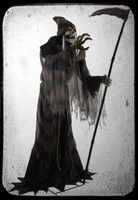 6' tall Life Size Animated Lunging Reaper of Angel Death Skeleton Halloween Prop