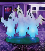 6' tall 3 Floating Ghosts Air blown Inflatable Ghost Trio Halloween Yard Decor