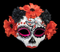 Day of the Dead Sugar Skull Female Red Halloween Costume Face Mask