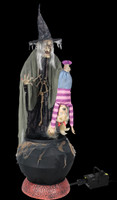"80"" tall Life Size Animated Swamp Hag Wicked Witch Brew Child w/ Fog Halloween Prop"