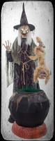 Animated Life Size Cat-Tastrophe Wicked Witch Hag Screaming Cat Halloween Prop Decoration
