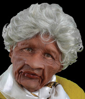 Moving Mouth Auntie Old Lady Silver Hair African American Supersoft Halloween Costume Mask