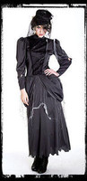 Gothic Ghost Mistress Dress & Hat Halloween Costume