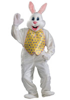 XL Plush Adult Deluxe Easter Bunny Rabbit Mascot Mask & Costume Vest & Tie