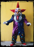 Oversized Red Blue Evil Clown Halloween Mask Costume