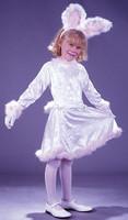 Girl Lrg White Velvet Easter Bunny Rabbit Dress Costume