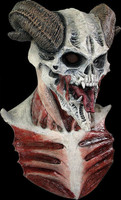 Bizarre Horned Devil Skull Exposed Tendons Ribs Halloween Costume Mask Chest