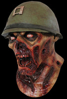 Army Captain Soldier Lester Yelling Rotted Zombie w Helmet Halloween Costume Mask