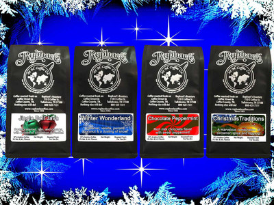 12 oz. each of: Jingle Bell Java, Winter Wonderland, Chocolate Peppermint, & Christmas Traditions
