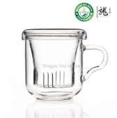 Clear Glass Mug With Lid & Filter 250ml B-369