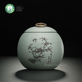 Gray Handmade Yixing Zisha Clay Bamboo Tea Caddy Canister 500ml 16.9 oz