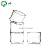 Clear Glass Kungfu Teacup Bamboo Joint Shapped Chinese Tea Cup 50ml Set of 4