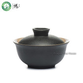 Black Zen Ceramic Chinese Gongfu Tea Lided Cup Gaiwan Brewing Teacup 100ml 3.4oz