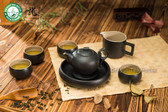 Black Zen Ceramic Chinese Kungfu Tea Set Teapot Fair Cup Cusion Four Teacups