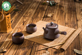 Brown Ceramic Chinese Gongfu Kungfu Tea Set Side Handle Teapot & Teacups 3 Pcs