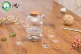 Lead-free Borosilicate Clear Glass Tea Set 970ml Teapot with Warmer Four Teacups