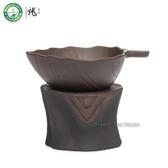 Tree Stool Brown Yixing Zisha Clay Chinese Gongfu Tea Mesh Tea Strainer & Stand
