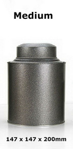 Double Lid Tea Tin Metal Canister Coffee Can Jar Kitchen Storage Food Container Gray Medium 147 x 147 x 200mm