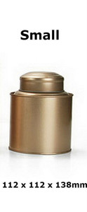 Double Lid Tea Tin Metal Canister Coffee Can Jar Kitchen Storage Food Container Gold Small 112 x 112 x 138mm